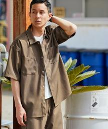【セットアップ】スタプレオーバーサイズ半袖ワークシャツ&ワイドテーパードイージーパンツブラウン