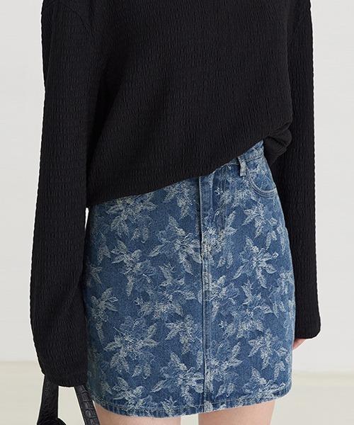 【Fano Studios】【2021SS】jacquard denim mini skirt FX21B071