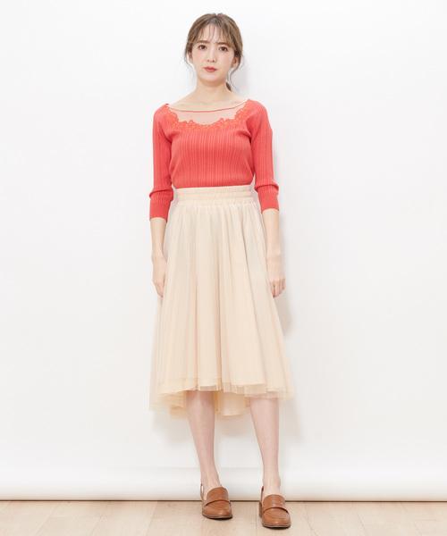 ラメチュールアシメプリーツスカート