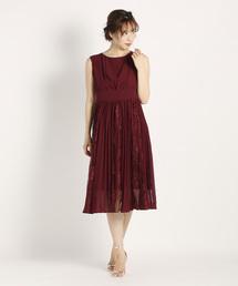 003fef1c508f8 UNIVERVAL MUSE(ユニバーバル ミューズ)のAKレースプリーツ ドレスワンピース(ドレス)
