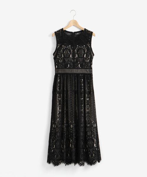 Perle Peche(ペルルペッシュ)の「総レースノースリーブドレス(ドレス)」|ブラック