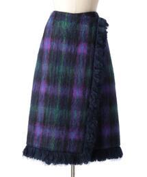 Drawer チェックフリンジラップスカート