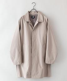 【着るバッグシリーズ】7ポケットステンカラーコート ビジネスシーンにもおすすめ 襟裏ワンポイントブランドロゴベージュ