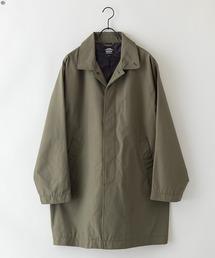 【着るバッグシリーズ】7ポケットステンカラーコート ビジネスシーンにもおすすめ 襟裏ワンポイントブランドロゴオリーブ