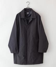 【着るバッグシリーズ】7ポケットステンカラーコート ビジネスシーンにもおすすめ 襟裏ワンポイントブランドロゴブラック