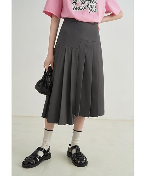 【Fano Studios】【2021SS】asymmetrical pleated midi skirt FX21B064
