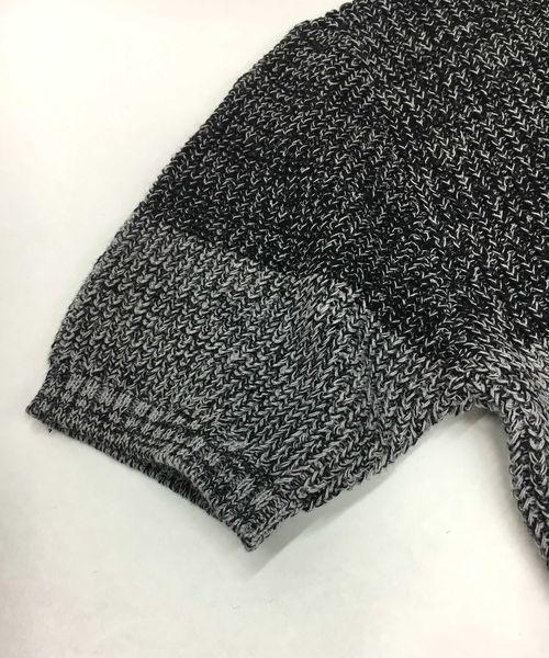 綿/麻グラデ-ションボ-ダ-/半袖セータ-