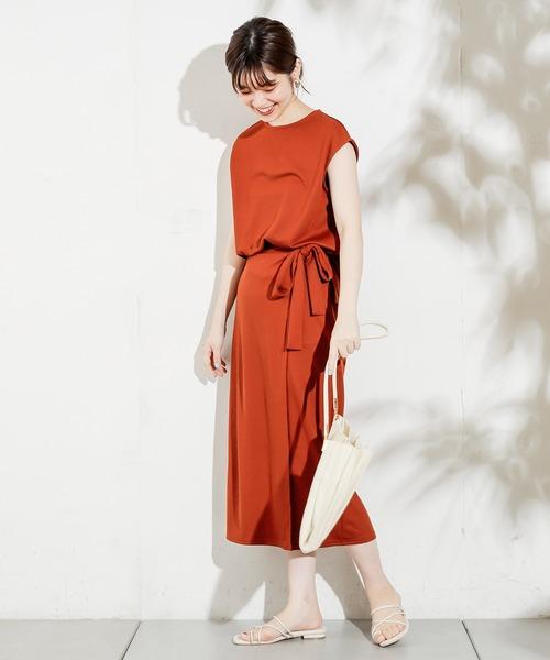 natural couture(ナチュラルクチュール)の「らくちん素材のおしゃれセットアップ(セットアップ)」|レンガ