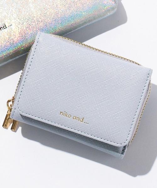 niko and...(ニコアンド)の「オリジナルロゴ三つ折り財布(財布)」|ライトブルー
