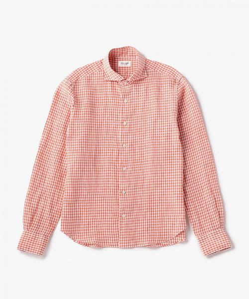 USET ギンガムチェック リネンシャツ ◆