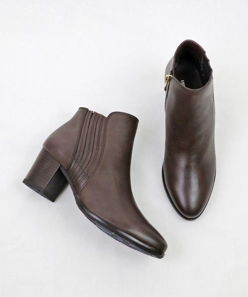 MODE KAORI(モードカオリ)の「カーブデザイン本革ショートブーツ(ブーツ)」|グレー