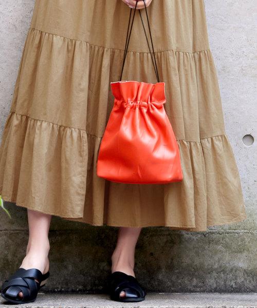 KOBE LETTUCE(コウベレタス)の「2WAYエコレザーショルダーミニ巾着バッグ(ハンドバッグ)」|オレンジ
