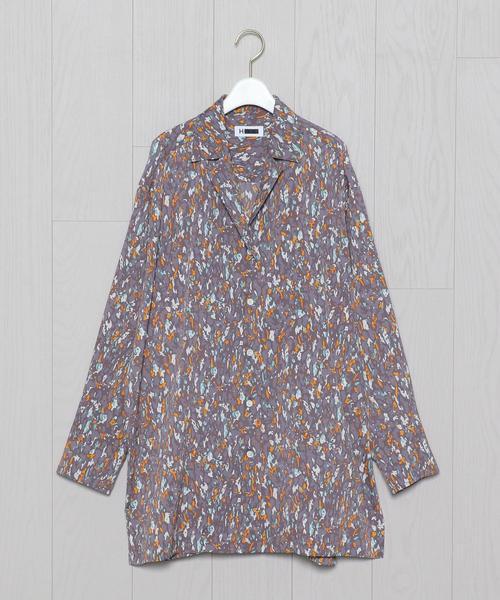 <H>GEOMETRIC PRINT OPEN COLLAR SHIRT/シャツ