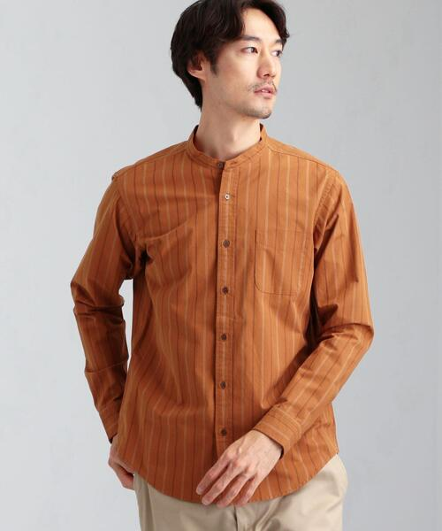 CSN ストライプ バンドカラー 長袖 シャツ