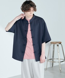 TRストレッチ オーバーサイズ バンドカラー チャイナシャツ(1/2 sleeve) -2021SUMMER-ネイビー