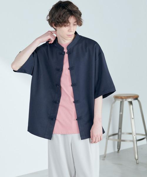 TRストレッチ オーバーサイズ バンドカラー チャイナシャツ(1/2 sleeve) -2021SUMMER-