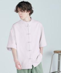 TRストレッチ オーバーサイズ バンドカラー チャイナシャツ(1/2 sleeve) -2021SUMMER-ライラック