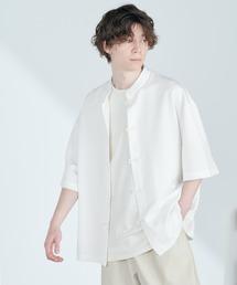 TRストレッチ オーバーサイズ バンドカラー チャイナシャツ(1/2 sleeve) -2021SUMMER-ホワイト