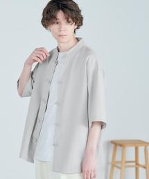 TRストレッチ オーバーサイズ バンドカラー チャイナシャツ(1/2 sleeve) -2021SUMMER-ライトグレー