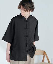 TRストレッチ オーバーサイズ バンドカラー チャイナシャツ(1/2 sleeve) -2021SUMMER-ブラック