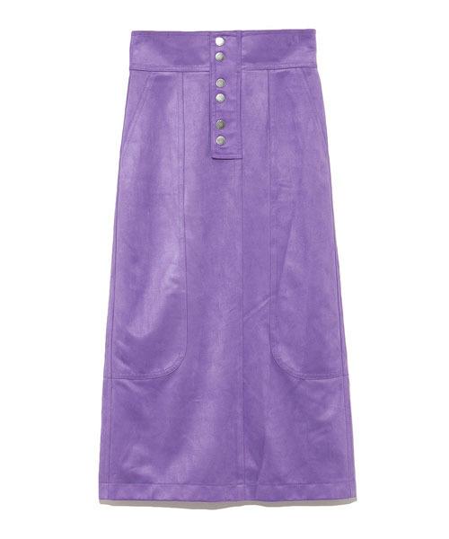 SNIDEL(スナイデル)の「スウェードミドルスカート(スカート)」|パープル