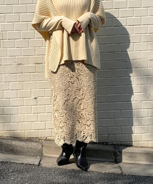 <EMMEL REFINES(エメル リファインズ)>ケミカルレース Iライン スカート