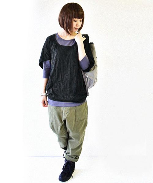 and it_(アンドイット)の「くしゅくしゅべたドルマンワイドカットソー(Tシャツ/カットソー)」|ブラック