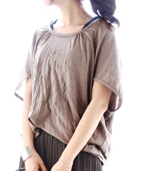and it_(アンドイット)の「くしゅくしゅべたドルマンワイドカットソー(Tシャツ/カットソー)」 モカ