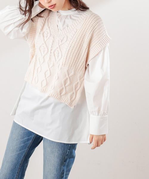 natural couture(ナチュラルクチュール)の「ショート丈ニットベスト×ブラウスセット(シャツ/ブラウス)」|アイボリー