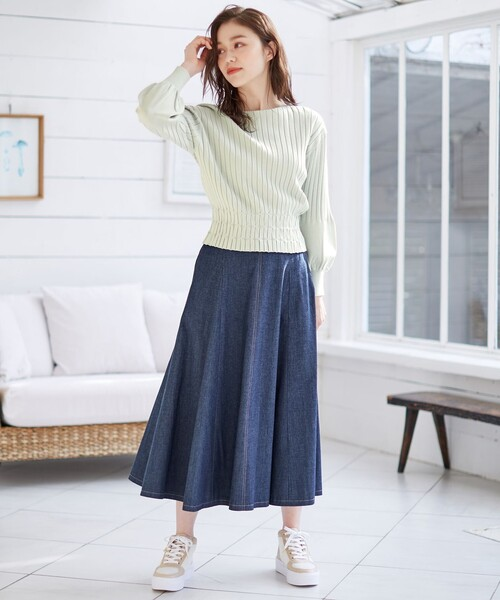[Feroux] 【洗える】ボリュームフレアデニム スカート