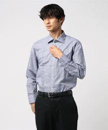 エムエフエディトリアルメンズ/m.f.editorial:MEN ×ATSURO TAYAMA 綿麻チェック柄ワイドカラービジネスドレス長袖シャツ(シャツ/ブラウス)