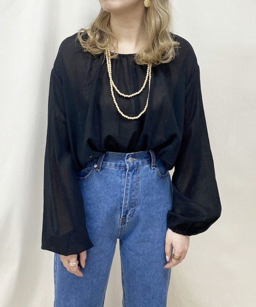 sheer cropped blouse