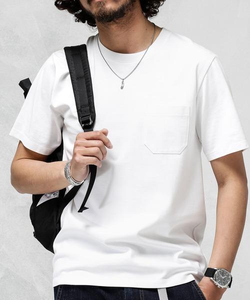 nano・universe(ナノユニバース)の「【ユニセックス対応】Anti Soaked ヘビークルーネックTシャツ(Tシャツ/カットソー)」 ホワイト