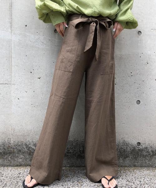 meJane(ミージェーン)の「麻レーヨン/ワイドパンツ(その他パンツ)」|カーキ