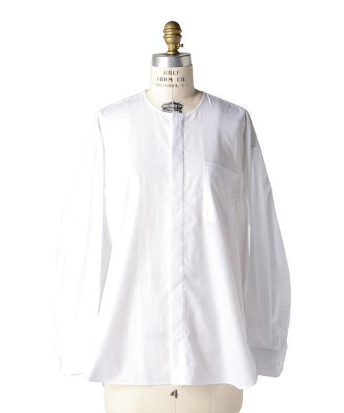 Drawer コットンノーカラーシャツ