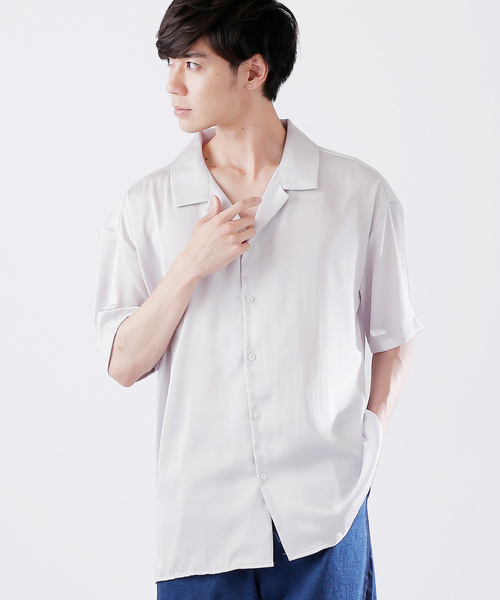 サテンビッグシルエットオープンカラーシャツ(1/2 sleeve)