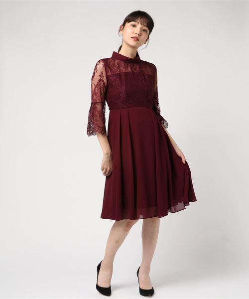 236ab1b157f37 Dorry Doll(ドーリードール)のハイカラーネック シアースリーブ切替ワンピースドレス(