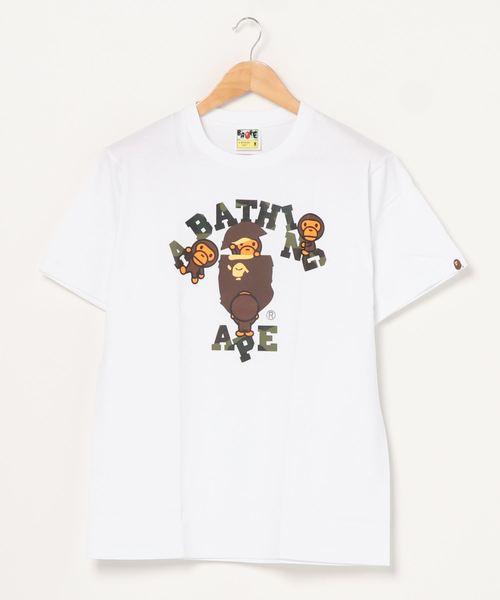 A BATHING APE(アベイシングエイプ)の「1ST CAMO COLLEGE MILO TEE M(Tシャツ/カットソー)」 ホワイト×グリーン