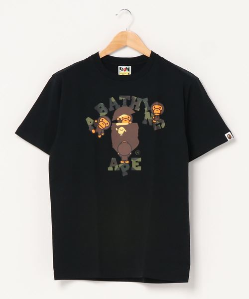 A BATHING APE(アベイシングエイプ)の「1ST CAMO COLLEGE MILO TEE M(Tシャツ/カットソー)」 ブラック×グリーン