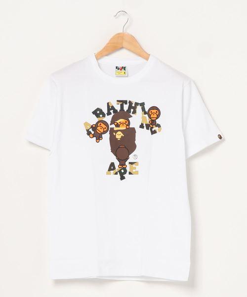 A BATHING APE(アベイシングエイプ)の「1ST CAMO COLLEGE MILO TEE M(Tシャツ/カットソー)」 ホワイト×イエロー