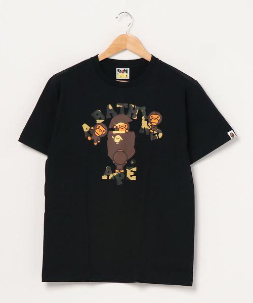 A BATHING APE(アベイシングエイプ)の「1ST CAMO COLLEGE MILO TEE M(Tシャツ/カットソー)」 ブラック×イエロー