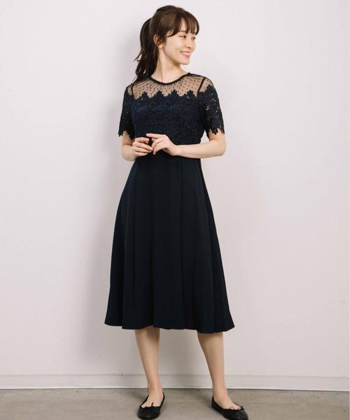 kanaell/ドットチュール胸レース切替ワンピースドレス