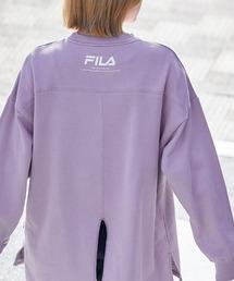 FILA/ フィラ フロント刺繍&バックロゴプリント ビッグシルエット裏毛バックスリットスウェットパープル系その他