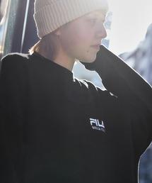 FILA/ フィラ フロント刺繍&バックロゴプリント ビッグシルエット裏毛バックスリットスウェットブラック