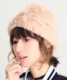 14+(イチヨンプラス)のラビットファー単色ニット帽 / knitcap(ニットキャップ/ビーニー)