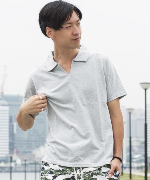 GRAND GLOBAL / 杢天竺スキッパーポロシャツ