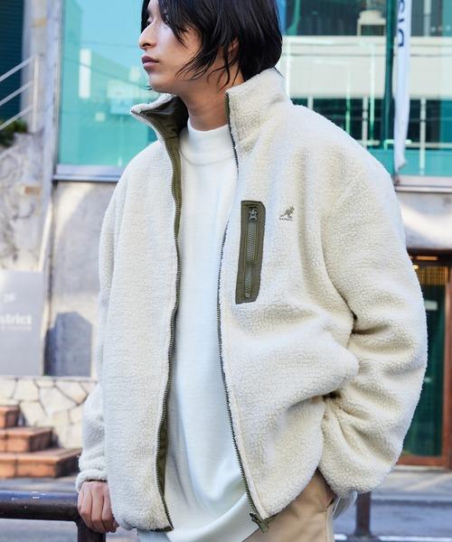 KANGOL/カンゴール別注 リバーシブル シープボアフリースジャケット/オーバーサイズ ボアスタンドブルゾン
