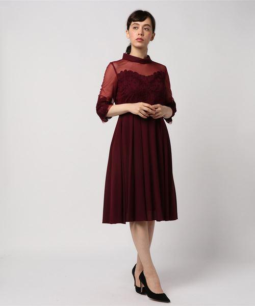 【1着でも送料無料】 【セール Luxe Doll/】ロールカラーネックシアー刺繍切替フレアーワンピース(ドレス)|Dorry Doll(ドリードール)のファッション通販, 半紙屋e-shop:5beb570c --- svarogday.com