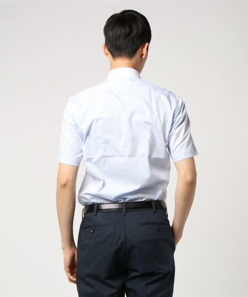 半袖シャツ コレクション サックスドビー クレリックパイピングBD