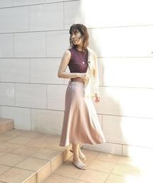 〔ハンドウォッシャブル〕SMF HW PEサテン フレアスカート